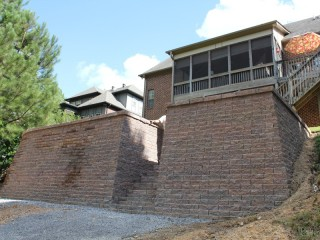 Retaining wall constructed in Pelham, Al