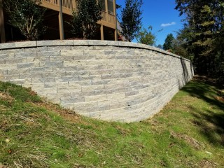 Retaining Wall, Patio and Fire Pit constructed in Alabaster, Al