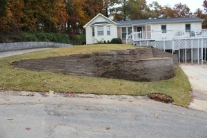 A retaining wall installation in Alabaster, Al