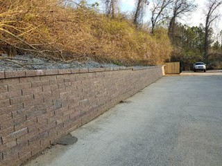 Retaining Wall Behind Oil Change Express in Alabaster, Al