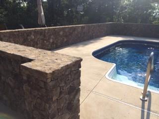 Wall around swimming pool
