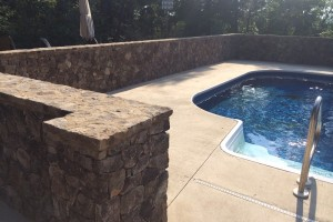 Wall around swimming pool