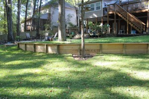 A wood retaining wall in Pelham, Al