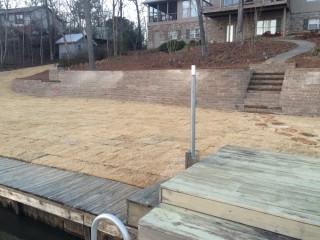 A retaining wall construction at Lay Lake, Alabama