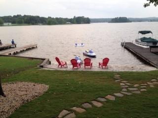 Landscaped backyard at Lay Lake, Alabama.