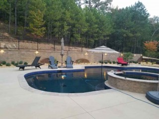 Landscape job around the pool in Helena, Al