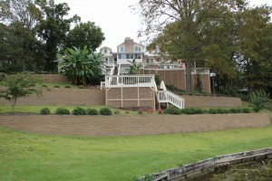 Landscaping, Retaining Walls, Pavers Around Lake House